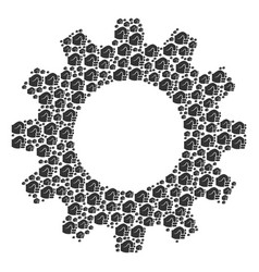 cog composition of fist icons vector image