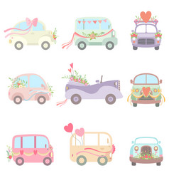 Collection cute vintage cars and vans decorated vector