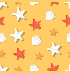 Color aquatic nautical shellfish and coral stars vector