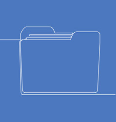 continuous line drawing folder icon concept vector image