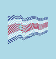 costa rica flag on blue background wave st vector image