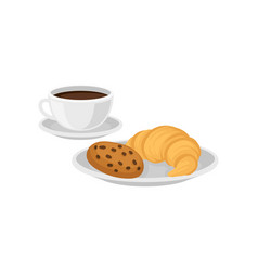 cup of hot fresh coffee and plate with chocolate vector image