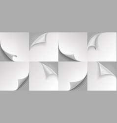 curled page corner realistic note papers 3d vector image