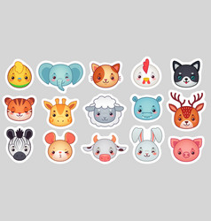 Cute animal stickers smiling adorable animals vector