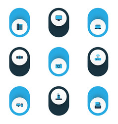 device icons colored set with projector phone vector image