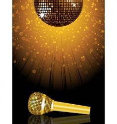 disco ball and microphone vector image vector image