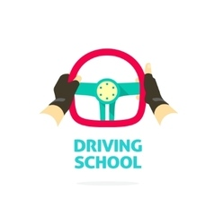 Driving school logo template hands holding vector