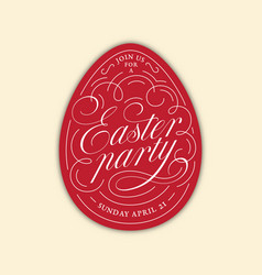 easter party egg lettering vector image