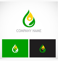 eco green leaf water drop bio logo vector image