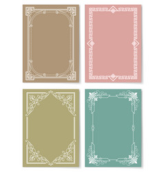 Engraving baroque style vintage frames set vector