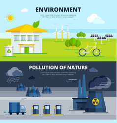 Environment and pollution banners set vector