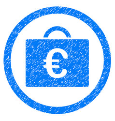euro bookkeeping case rounded icon rubber stamp vector image