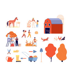 farm collection animals farmers harvesting vector image