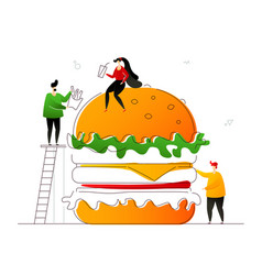 fast food - flat design style colorful vector image