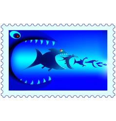 Fish predators stamp vector image