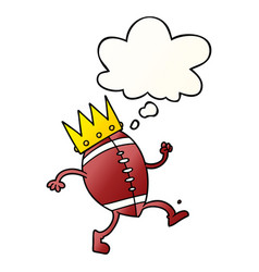 Football with crown cartoon and thought bubble in vector