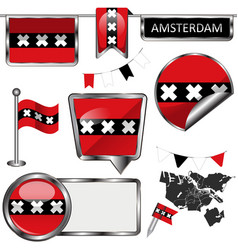 Glossy icons with flag of amsterdam netherlands vector