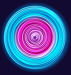 Glow spin neon circles vector