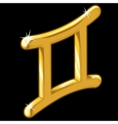 Golden zodiac sign Gemini on black background vector image