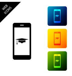 Graduation cap and smartphone icon online vector