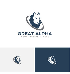 Great strong alpha wolf head leader business logo vector