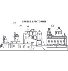 greece santorini line skyline vector image
