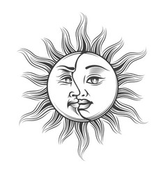hand drawn sun and moon occult symbol vector image