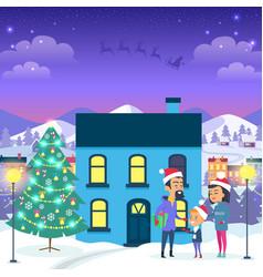 Happy family near urban house and christmas tree vector