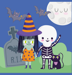 happy halloween kids with skeleton and witch vector image