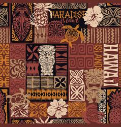 Hawaiian style tribal motif fabric patchwork vector
