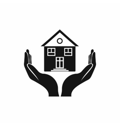 House in hands icon simple style vector image