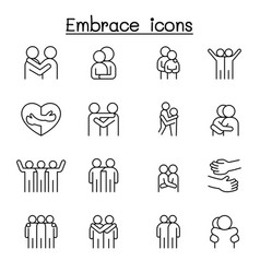 Hug icon set in thin line style vector