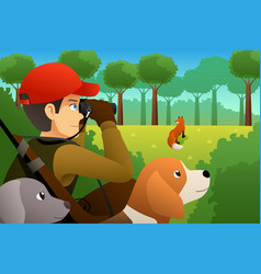 hunter with his dog hunting a fox vector image