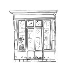 informational poster sketch front store cartoon vector image