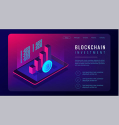 Isometric blockchain investment landing page vector
