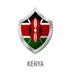 Kenya flag on metal shiny shield vector