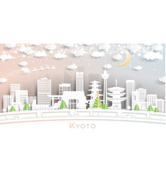 kyoto japan city skyline in paper cut style with vector image