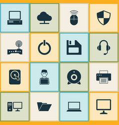 Laptop icons set collection of router hdd vector
