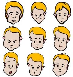little boy emotion cartoon collection vector image vector image