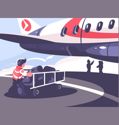 loading of luggage in plane vector image