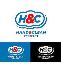 Logo hand clean h and c monogram antiseptic vector