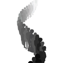 Long queue people silhouettes vector
