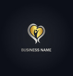 love heart happy valentine gold logo vector image