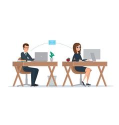 Man and woman at computer monitor Office vector