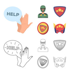 Man mask cloak and other web icon in cartoon vector