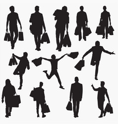 man with shopping bag silhouettes vector image