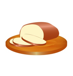 Melted smoked cheese on the board vector