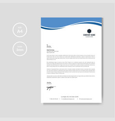 Modern blue wave business letterhead layout vector
