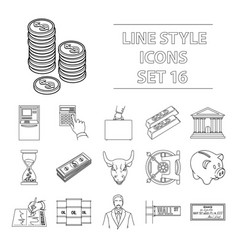 money and finance set icons in outline style big vector image