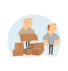 Movers load boxes cartoon character vector